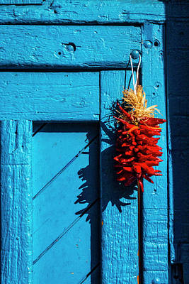 Of Painted Door Photograph - Wooden Door With Chilis by Garry Gay