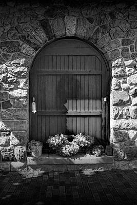 Photograph - Wooden Door With Flowers In Black And White by Randall Nyhof