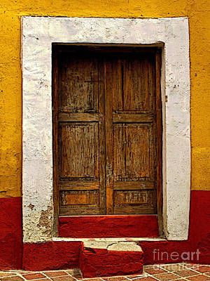 Wooden Door With White Trim Art Print by Mexicolors Art Photography