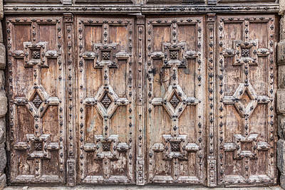 Photograph - Wooden Doors With Relief Carved Patterns by Semmick Photo