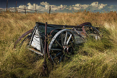 Photograph - Wooden Farm Wagon In The Grass On The Prairie by Randall Nyhof