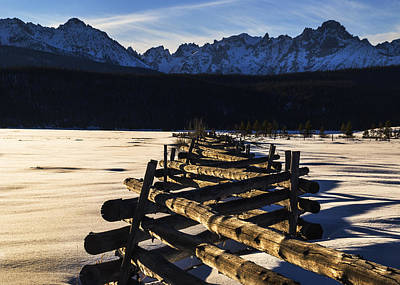 Photograph - Wooden Fence And Sawtooth Mountain Range by Vishwanath Bhat