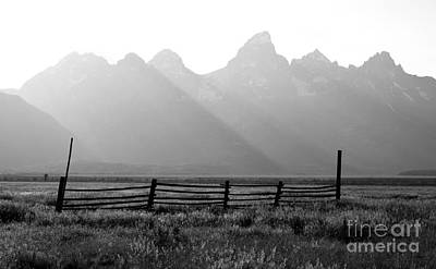 Western Themed Photograph - Wooden Fence Beneath Grand Teton Mountain Range Outdoor Western Scenic Wyoming Black And White by Shawn O'Brien