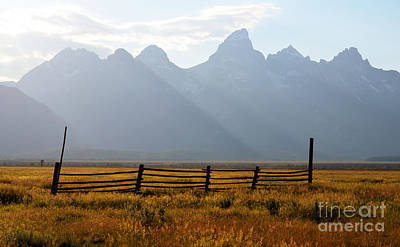 Western Themed Photograph - Wooden Fence In Meadow Beneath Grand Teton Mountain Range Outdoor Western Scenic Wyoming by Shawn O'Brien