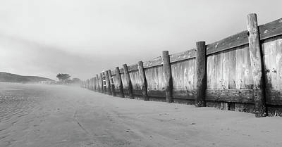 Bodega Bay Photograph - Wooden Fence Black And White by Sierra Vance