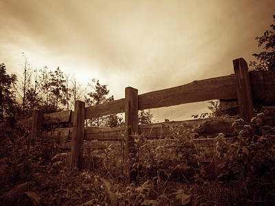 Wooden Fence Print by Wim Lanclus