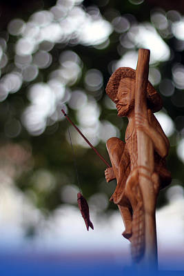Wooden Fisherman Original by Tharindu Athapattu