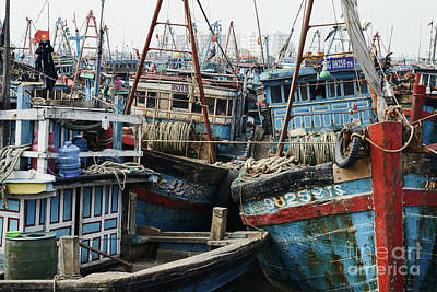 Fishing Boats Photograph - Wooden Fishing Boats Congested At The Fishing Village In Da Nang, South Vietnam by Dani Prints and Images