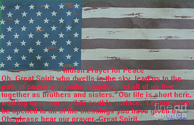 4th Of July Mixed Media - Wooden Flag With Indian Prayer by To-Tam Gerwe