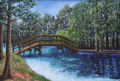 Wooden Foot Bridge At The Park Art Print by Penny Birch-Williams