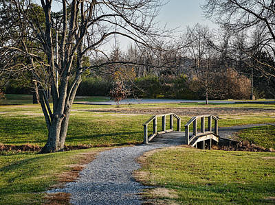 Photograph - Wooden Footbridge In Park by Greg Jackson