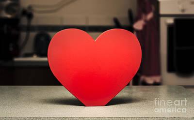 Wooden Heart Shape Chopping Block On Kitchen Bench Art Print by Jorgo Photography - Wall Art Gallery