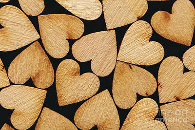 Photograph - Wooden Hearts Laying Together Tightly by Michal Bednarek