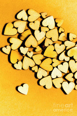 Flirt Photograph - Wooden Hearts With Sentimental Single by Jorgo Photography - Wall Art Gallery