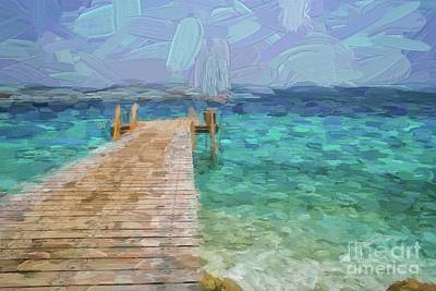 Digital Art - Wooden Jetty And Boat by Patricia Hofmeester
