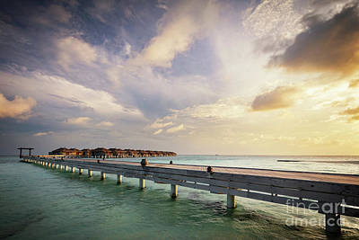 Wooden Jetty And Water Villas. Maldives Island Resort At Sunset Art Print