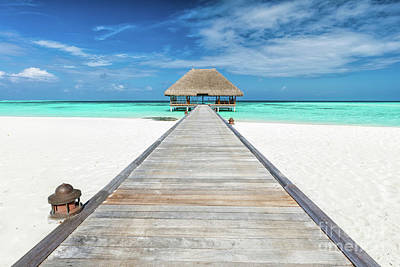 Spa Photograph - Wooden Jetty Leading To Relaxation Lodge. Maldives Islands by Michal Bednarek