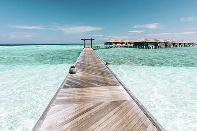 Photograph - Wooden Jetty On Maldives. Holiday Travel Destination. by Michal Bednarek