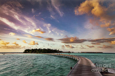 Wooden Jetty Towards A Small Island In Maldives At Sunset Art Print