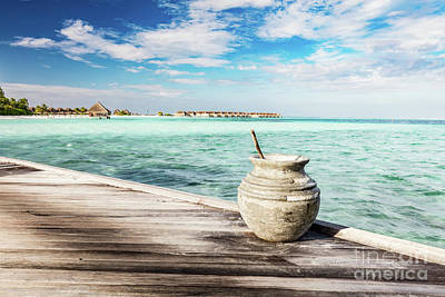 Wooden Jetty Towards A Small Island In Maldives Art Print