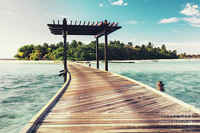 Photograph - Wooden Jetty With Arch Leading To A Tropical Island by Michal Bednarek