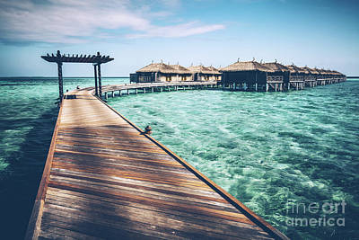 Photograph - Wooden Jetty With Arch On A Clean Turquoise Ocean Water. by Michal Bednarek