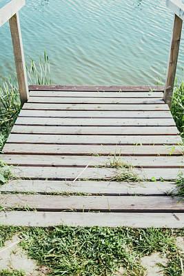 Wooden Platform Photograph - Wooden Lake Jetty Closeup by Pati Photography