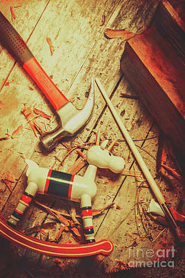 Hammer Photograph - Wooden Model Toy Reindeer. Christmas Craft by Jorgo Photography - Wall Art Gallery