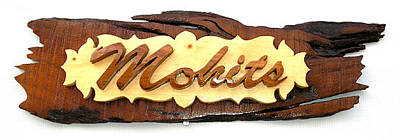 Wooden Name Plate Painting - Wooden Name Plate by Mirza Ali