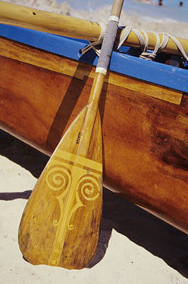 Photograph - Wooden Paddle And Canoe by Joss - Printscapes