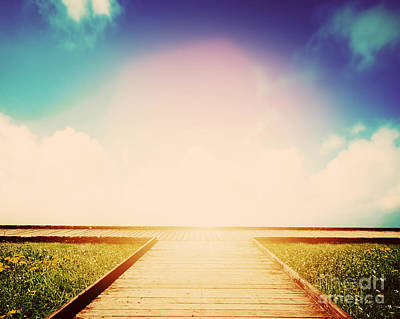 Path Photograph - Wooden Path Leading To Crossroads by Michal Bednarek