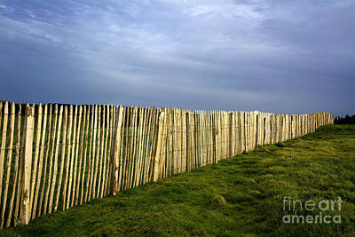 Wooden Picket Fence. Auvergne. France. Art Print by Bernard Jaubert