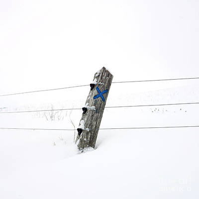 Wooden Post In Winter Print by Bernard Jaubert