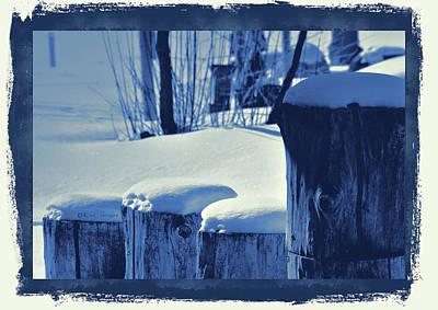 Digital Art - Wooden Posts In Snow - Digital Cyanotype by Kae Cheatham