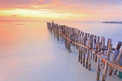 Latin Photograph - Wooden Posts Into  Sea by Enzo Figueres