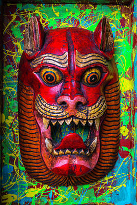 Wooden Red Cat Mask Art Print by Garry Gay