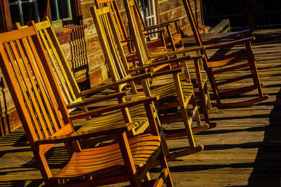 Wooden Rocking Chairs Art Print