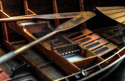 Photograph - Wooden Rowboat And Oars by Carol Montoya