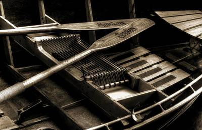 Photograph - Wooden Rowboat And Oars In Tonal Value by Carol Montoya
