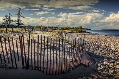 Wooden Sand Fence On The Beach At Glen Haven Michigan Art Print