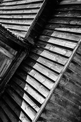 Photograph - Wooden Shed Abstract Monochrome by John Williams