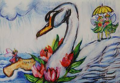 Fairys Painting - Wooden Shoe And Swan by Susan Brown    Slizys art signature name