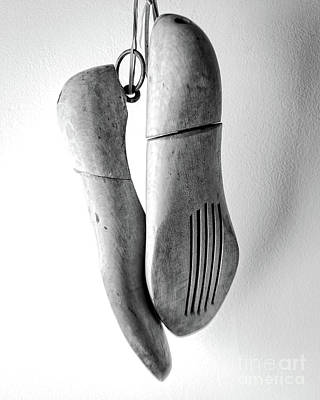 Photograph - Wooden Shoe Forms Black And White by Edward Fielding