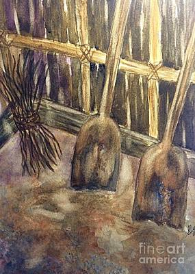 Wooden Shovels N Stick Bundle Still Life  Art Print