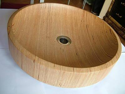 Custom Sinks Ceramic Art - Wooden Sink by Piotr Marek