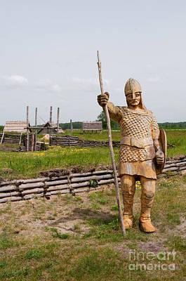 Reconstruction Photograph - Wooden Slav Knight Watch Sculpture by Arletta Cwalina