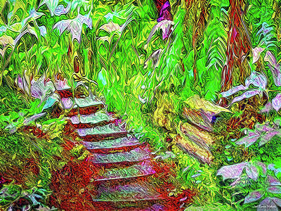 Art Print featuring the digital art Wooden Steps Through The Forest - Tamalpais California by Joel Bruce Wallach
