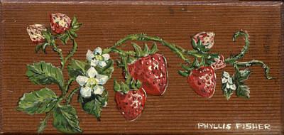 Digital Art - Wooden Strawberries by Phyllis Mae Richardson Fisher