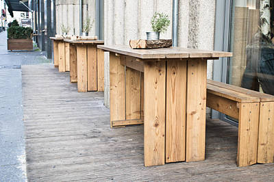 Decorative Benches Photograph - Wooden Tables by Tom Gowanlock