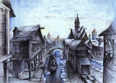 Wooden Town On The Frozen Lake Art Print